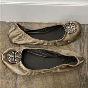 Tory Burch brown and silver flats size 6.5M